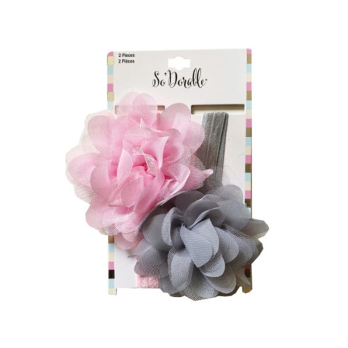Pink & Grey 2 Piece Headband in Chiffon/Tulle Flower