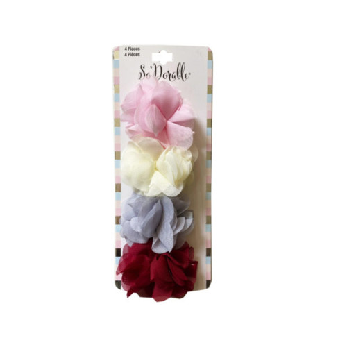 Multi-Color 4 Piece Chiffon Dark Flower Clippies