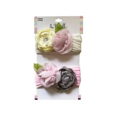 Multi-Color 2 Piece Rose Style Headbands