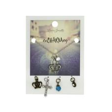 Fleur De Lis Charm Necklace with Multiple Charms