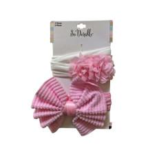 Pink 2 Piece Bow & Flower Headwrap