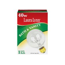 Laura Lynn G25 40W Clear Bath & Vanity Incandescent Light Bulb