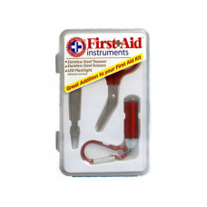 3 Pc First Aid Instrument Kit with Tweezers, Scissors & LED Flashlight in Case