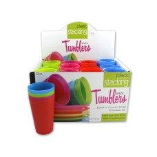 12 oz. Plastic Stacking Tumblers Countertop Display