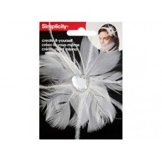 White Feather with Heart Jewel Headband Accent