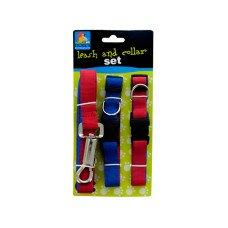 Dual-Colored Nylon Leash & Collars Set