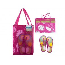 Straw Beach Mat with Sandals in Carrying Bag Set