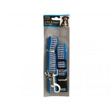 Blue Houndstooth Collar & Leash Bundle Set