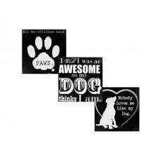 Black & White Wooden Dog Sign
