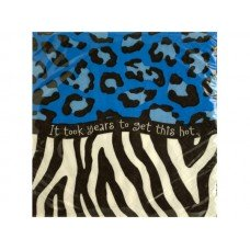 Blue Animal Print Birthday Beverage Napkins