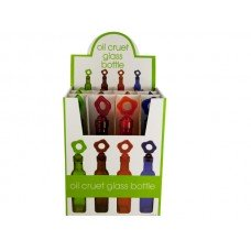 Glass Oil Bottle with Flower Stopper Countertop Display
