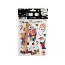 Christmas with Sayings Rub-On Transfers