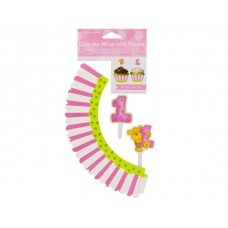 Girl's First Birthday Cupcake Wraps & Toppers
