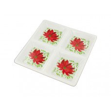 Sectioned Poinsettia Party Tray