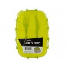 Divided Plastic Lunch Box with Fork & Knife
