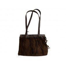 Dark Brown Faux Suede Handbag with Tassels