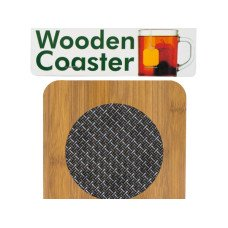 Wooden Coaster with Basketweave Pattern