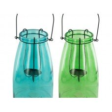 Colored Glass Candle Lantern with Handle