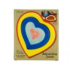Ceramic 2 in 1 Interlocking Heart Trivets