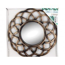 Distressed Gold Circle Wall Mirror