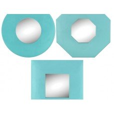 Light Blue Geometric Wall Mirror Set