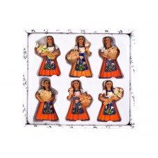 Decorative Lily Woman Magnets Set