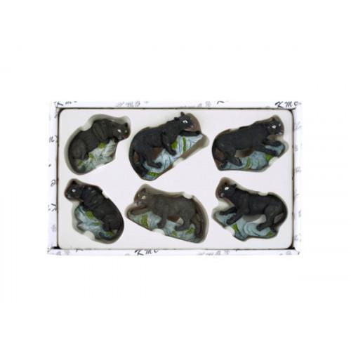 Decorative Black Leopard Magnets Set