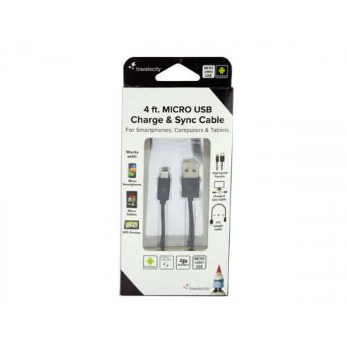 Travelocity Black Micro USB Charge & Sync Cable