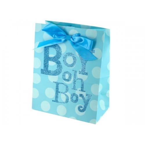"""Medium """"Boy Oh Boy"""" Dotted Gift Bag"""