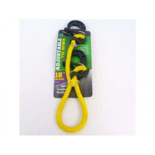 Yellow Adjustable Tie Down with Hooks