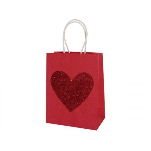Small Red Glitter Heart Valentine Gift Bag