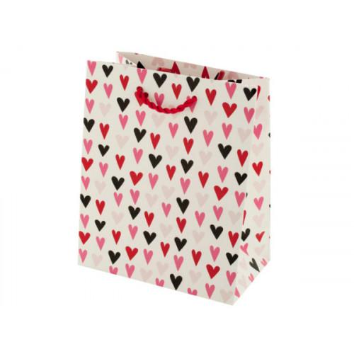 Mini White Hearts Print Valentine Gift Bag