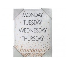 Days of the Week Champagne Canvas Wall Art