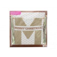 'Merry Christmas' Gold Glitter Banner