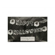 Happy Halloween Banner with Honeycomb Bugs & Cobwebs