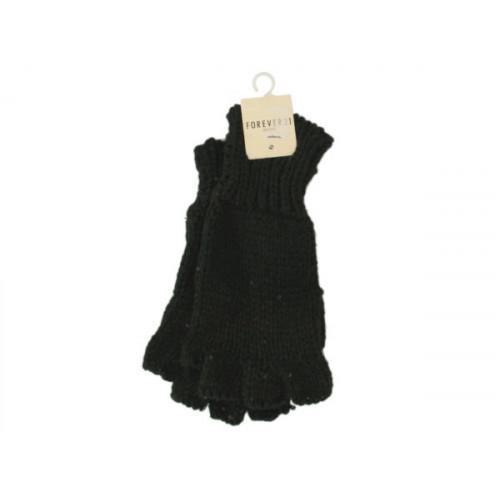 Women's Black Sparkle Fingerless Knit Gloves