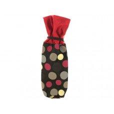 Red & Black Polka Dot Fabric Wine Bag