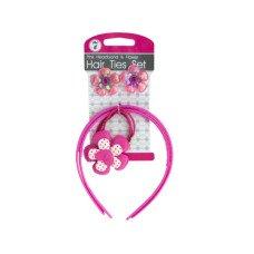 Pink Headbands & Flower Hair Ties Set