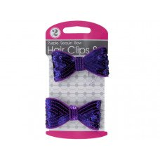 Purple Sequin Bow Hair Clips Set