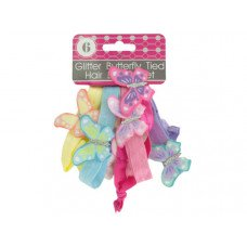 Glitter Butterfly Tied Hair Bands Set