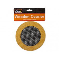 Round Wooden Coaster with Basket Weave Pattern