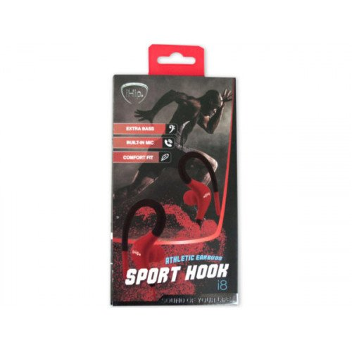 iHip Red and Black Athletic Earbuds Sports Hook