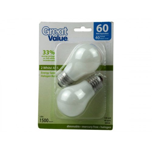 Great Value 2 Pack A15 Dimmable White Light Bulbs 40W