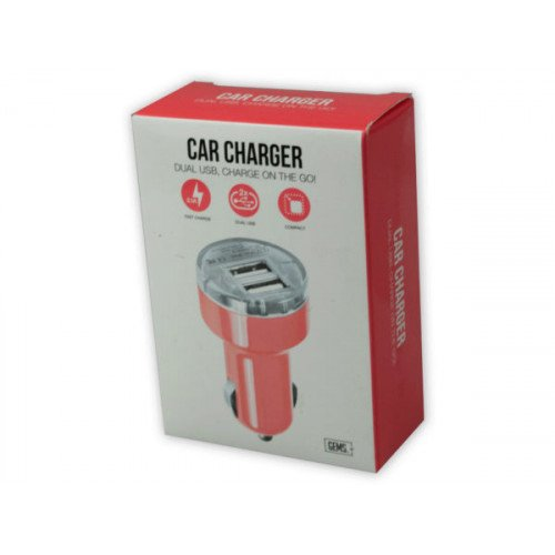 Dual USB 2 Port Car Charger Coral