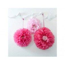 Pink Flower Pom Pom 3 Pk
