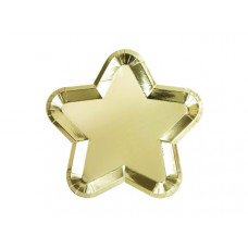 Star Shaped Gold Plate 12 pk