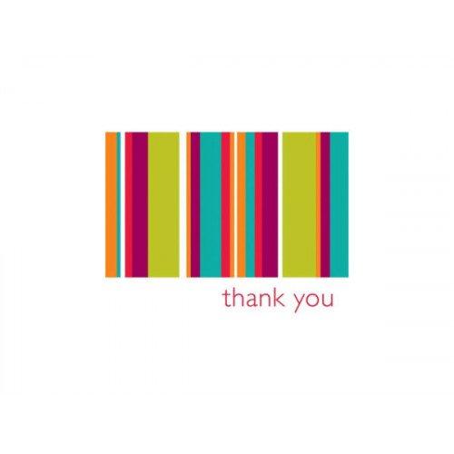 15 Count Multi Color Stripe Thank You Cards & Envelopes Set