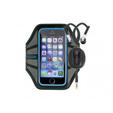 Blue Armband Retractable Sports Wrap Earbuds