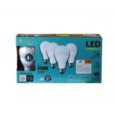 4 Pack 17 Watt LED Dimmable Soft White Omni Directional Bulbs