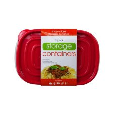 3 Pack Plastic Rectangular Food Container